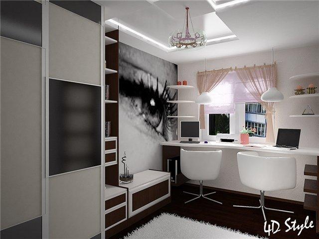 Дизайн интерьер комнаты без окон